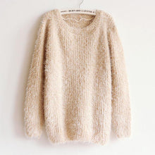 Load image into Gallery viewer, Mohair Pullover Sweater Large Size Long Sleeve Sweater