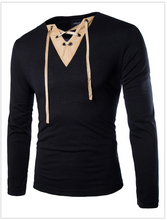 Load image into Gallery viewer, Suede Stitching V-Neck Long Sleeve