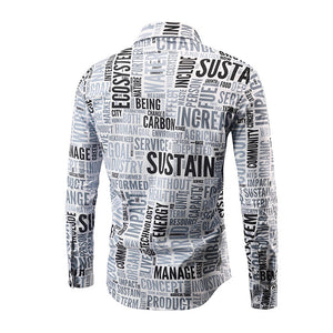 Man's Letter Printed Long Sleeve Button Down Shirt