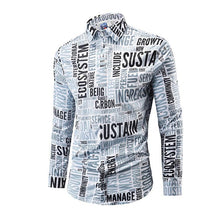 Load image into Gallery viewer, Man's Letter Printed Long Sleeve Button Down Shirt