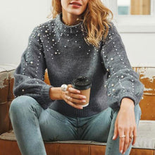 Load image into Gallery viewer, Round Neck Pullover Loose Sweater Short Pearl Decorative Sweater