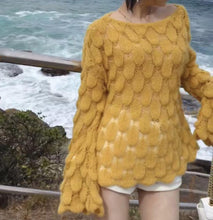 Load image into Gallery viewer, Mohair Sweater Hollow Sweater Loose Round Neck Long Sleeve Sweater
