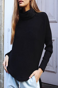 Casual High Neck Striped Sweater