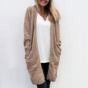 Slant Pocket Knit Cardigan Women Long Loose