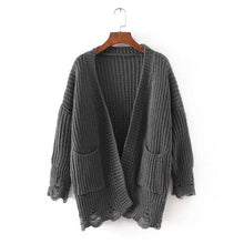 Load image into Gallery viewer, Cutout Hole Double Pocket Knit Cardigan Sweater