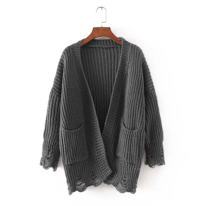 Cutout Hole Double Pocket Knit Cardigan Sweater