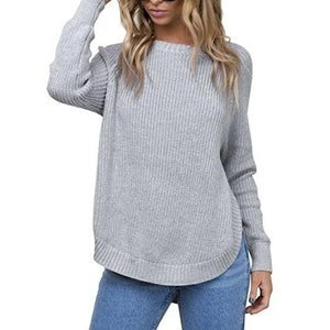 Hem High Slit Round Neck Long Sleeve Pullover Sweater Sweater