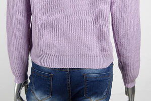 Loose Short High Collar Umbilical Pullover Sweater