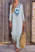 Load image into Gallery viewer, Sexy Loose Strip V Collar Long Sleeve Vacation  Stripe Maxi Dress