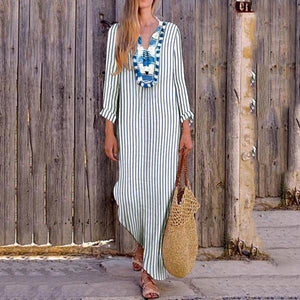 Sexy Loose Strip V Collar Long Sleeve Vacation  Stripe Maxi Dress