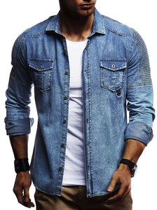 Solid Color Pleated Men's Long-Sleeved Denim Jacket