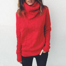 Load image into Gallery viewer, Solid Color Long-Sleeved High-Neck Pullover Sweater