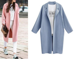 Simple Fashion Long Cardigan Windbreaker Outerwear