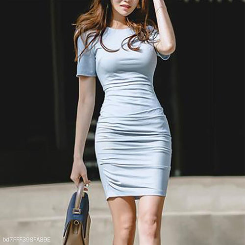 Pleated Slim Short-Sleeved Bodycon Dress
