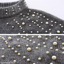 Load image into Gallery viewer, Round Neck Pullover Loose Pearl Sweater