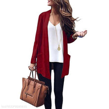 Load image into Gallery viewer, Medium Long Solid Color Large Pocket Knit Cardigan Sweater