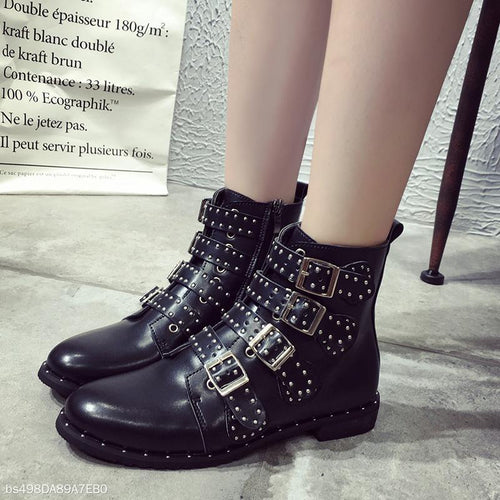 Black Leather Riding Buckle Studded Boots