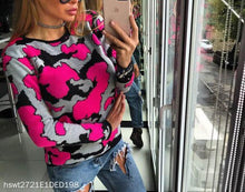 Load image into Gallery viewer, Long Sleeve Round Neck Camouflage Sweater Top