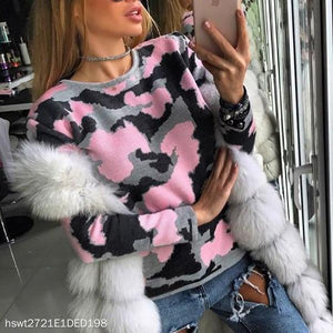 Long Sleeve Round Neck Camouflage Sweater Top