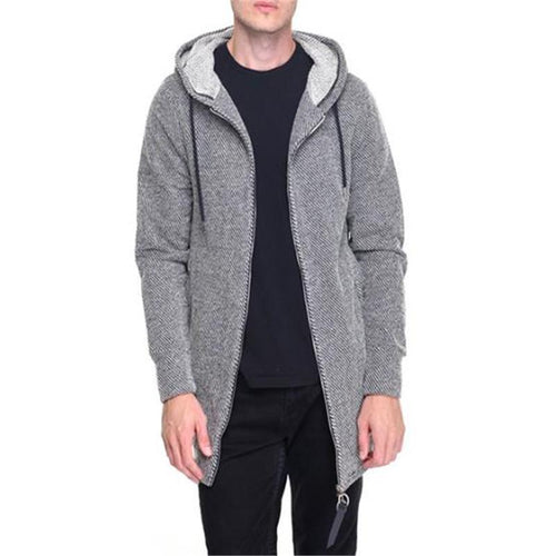 Fashion Mens Sport Loose Plain Long Sleeve Zipper Outerwear