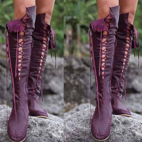 Cross Straps Long Boots Tassel Boots