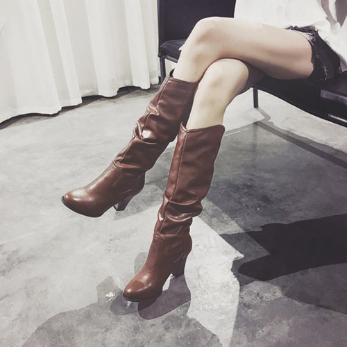 Fashion Round Head Low Heel Long Boots