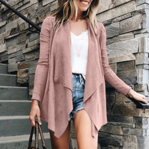 Fashion Casual Long   Sleeve Irregular Cardigans