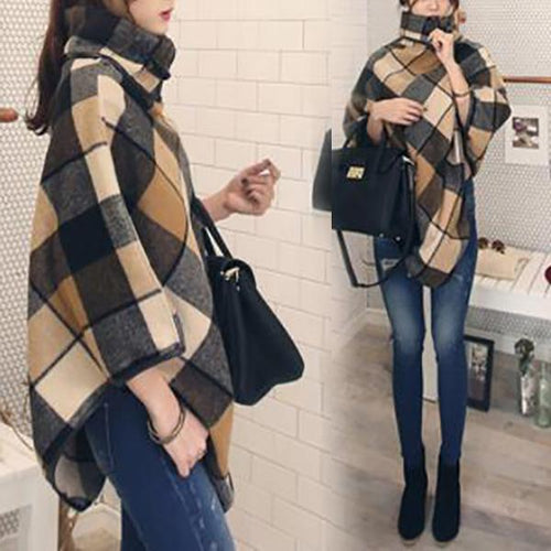 Plaid Shawl Wool High Collar Cloak Coat