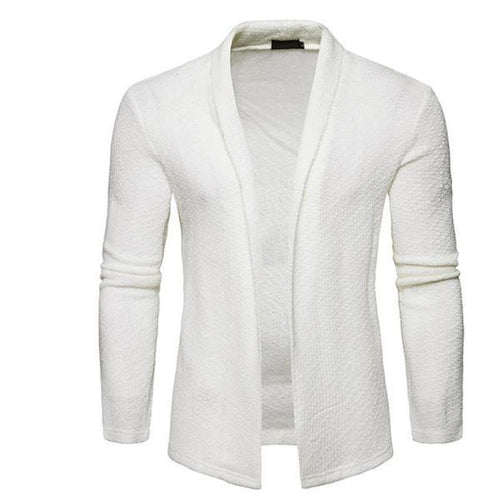 Mens Casual Fashion Youth Slim Plain Long Sleeve Knitting Outerwear