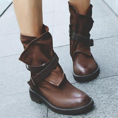 Retro Belt Buckle Ankle Boots