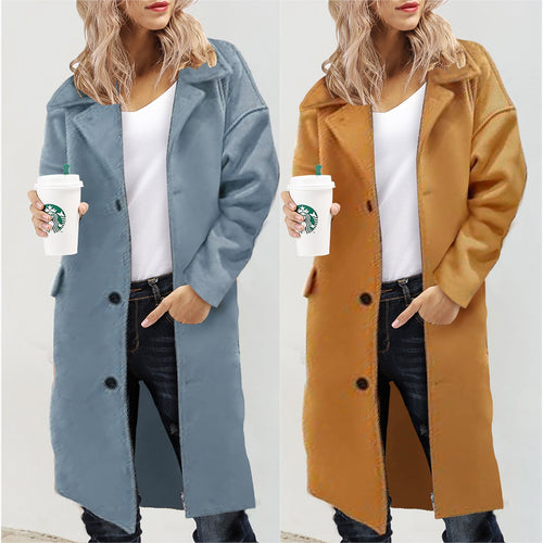 Lapel Woolen Coat Winter Warm Long Solid Color Cardigan Outwear