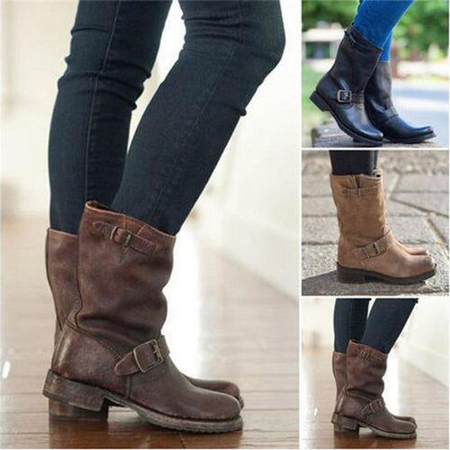 Fashion Mid Calf Boots Ladies Buckle Shoes Winter Footwear