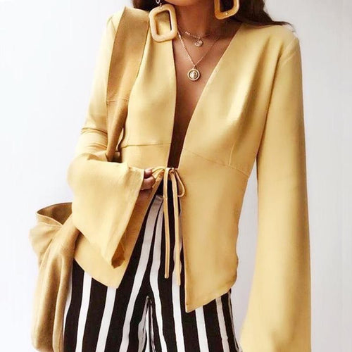 Long Sleeve Blazer Sexy Deep V-Neck Yellow Cardigan