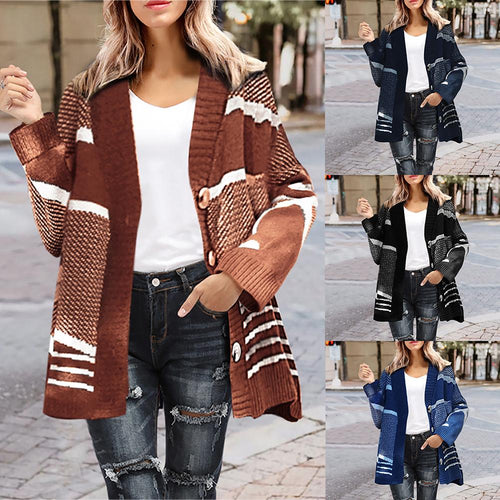 Autumn Stripe Patchwork Sweater Warm Cardigan