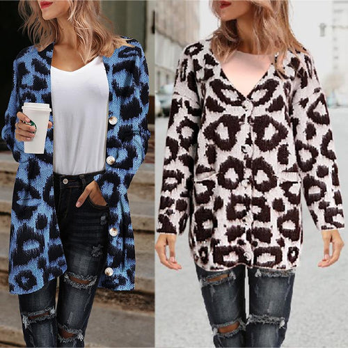 Women Knitted Vintage Leopard Coat Loose Casual Outwear