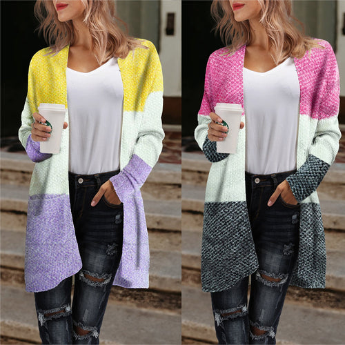 Round Neck Long Sleeve Cardigan Casual Overcoat