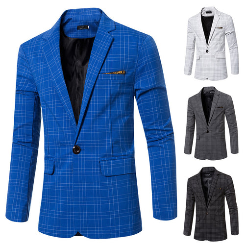 Fashion Plaid Slim Fit Suit Jacket