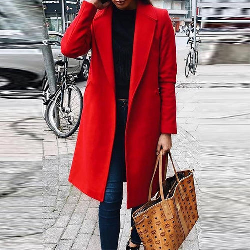 Fashion Autumn/Winter V-Neck Slim Woolen Coat