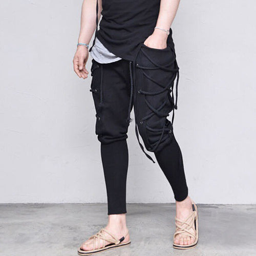 Solid Color Pocket Waist Straps Decorated Casual Men's Trousers