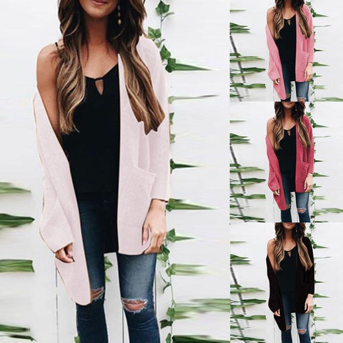 Autumn New Mid-Length V-Neck Knit Cardigan