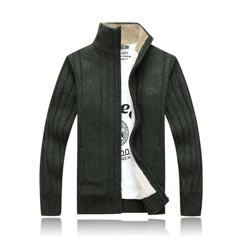 Men's Stand Collar Plus Velvet Sweater Coat