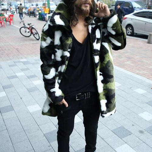 Long-Lasting Camouflage Fur Warm Trench Coat In Simulated Fur Coat