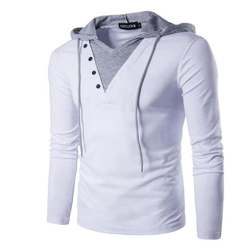 Fashion Casual Youth Slim Solid Color Long Sleeve Men Hoodie