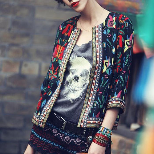 New Embroidered Print Three-Quarter Sleeve Jacket