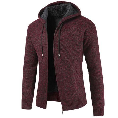 Heather Knit Zip-Up Fleece Hoodie