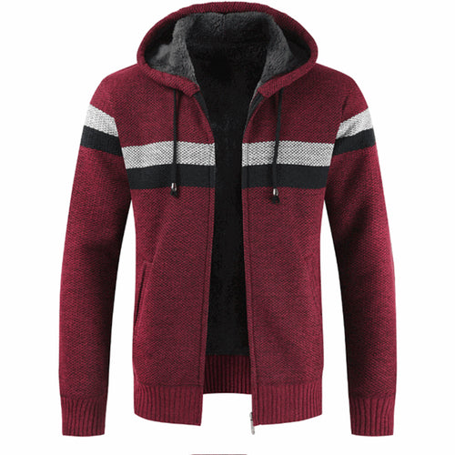 Men's Knit Colorblocking And Velvet Thickening Hooded Jacket
