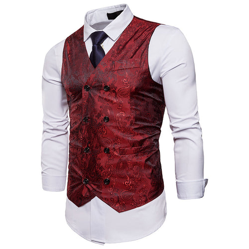 Fashion Color Matching Gentleman Print Vest