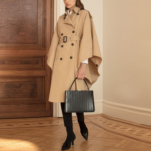 Double-Breasted Belt Asymmetric Cloak Trench Coat