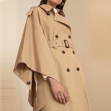 Load image into Gallery viewer, Double-Breasted Belt Asymmetric Cloak Trench Coat