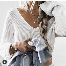 Load image into Gallery viewer, Long Sleeve V-Neck Sexy Navel Sweater